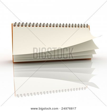 Desk calendar showing a blank page 2. 3d rendering