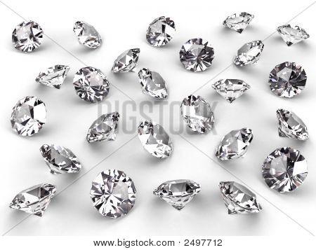 mehrere Diamanten mit weichen Schatten