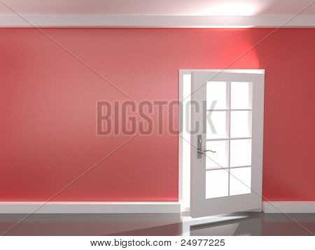 Opening  door in a empty red  room
