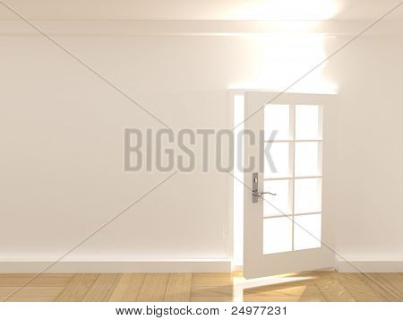 Open  door in a empty  room