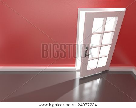 Open  door in a empty red room