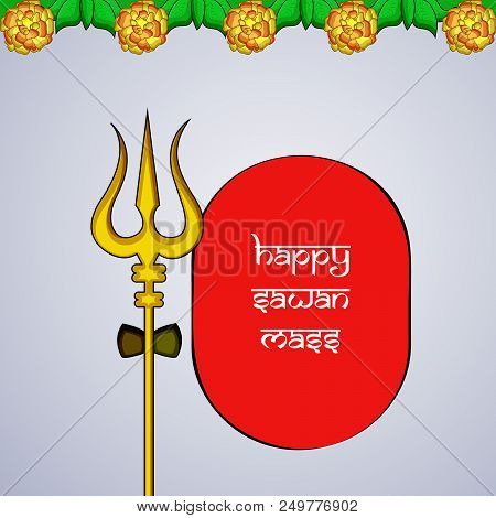 Illustration Of Trishul A Weapon Of Hindu God Shiva With Happy Sawan Mass  Text On The Occasion Of Hi poster