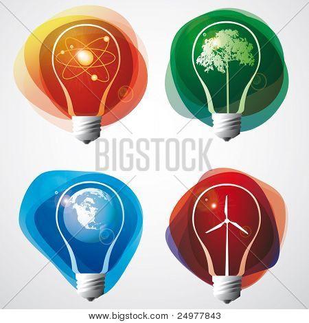 Símbolos de energia em uma lâmpada.