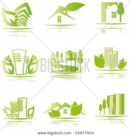 eco houses icons