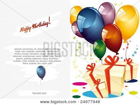 Card to birthday, with balloons and gifts