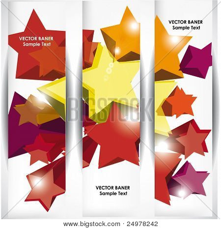 Set of the 160x600  banners with stars.