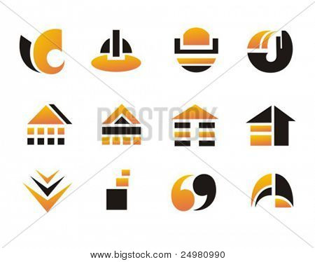 Set of logos or design elements.