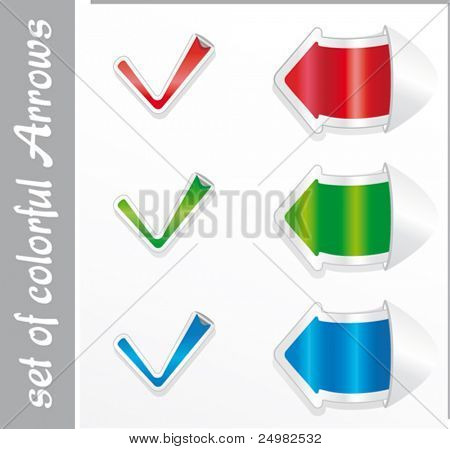 Vector positive checkmark stickers and arrows.