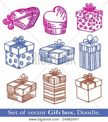 Hand-Drawn. Set of vector Gift boxes. Doodle.