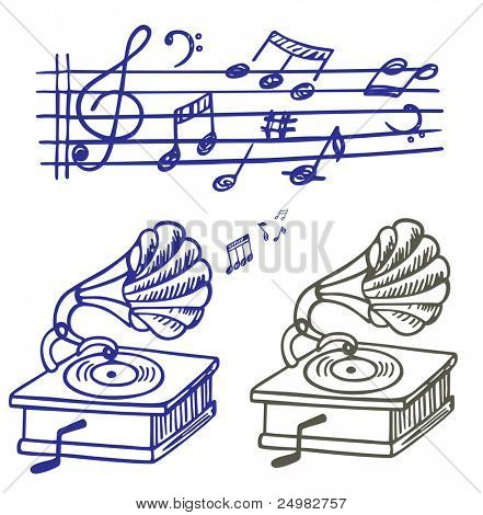 Music doodle. Set of  music note and gramophone doodle.