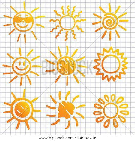 Suns . Elements for design. Doodles.