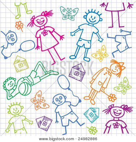 Children's drawings. Seamless vector background.