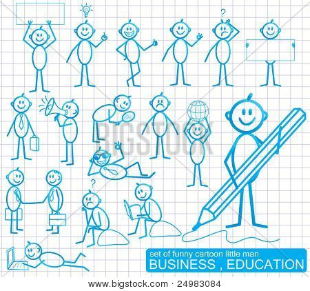 Set of funny cartoon little man with various emotion expressions. BUSINESS and EDUCATION.