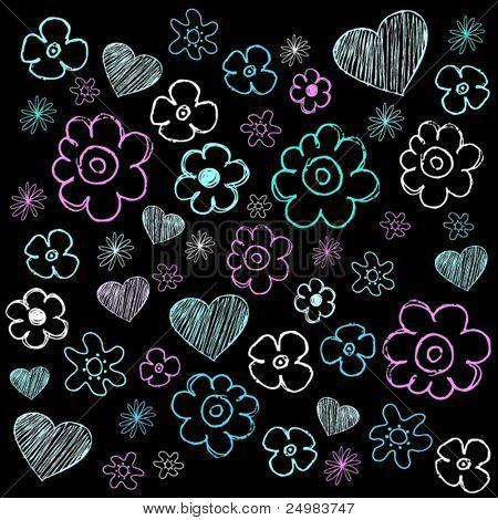 Flower doodles on black chalk school board