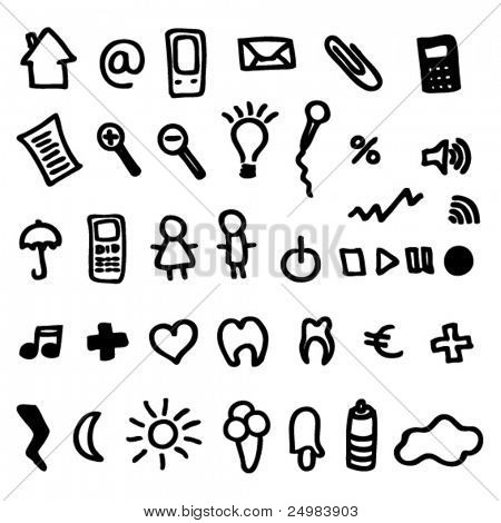 icons set doodles for online web applications in vector