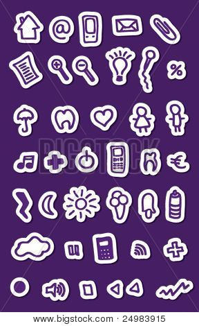 Populair purple buttons icons set for web applications - easy to edit vector