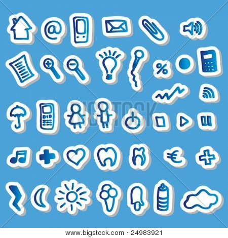 Blue web buttons icons set for online purpose - easy to edit vector