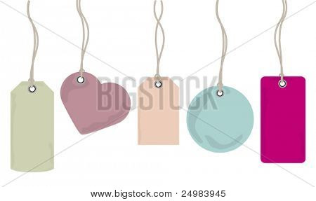 Collection of various shaped price tags for retail in vector