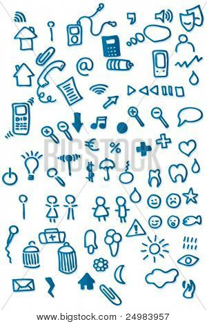 doodles icon shapes set - web applications in vector