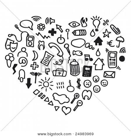 Heart shaped icon set web applications in vector