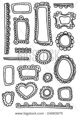 Rizado garabatos Marcos y adornos - elementos de diseño situado en vector
