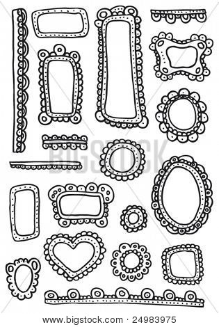 Geschweiften Frames und Ornamente Gekritzel - Designelemente in Vektor festgelegt