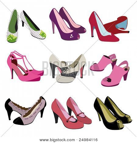 Woman fashion heels shoes - trendy foot wear in vector