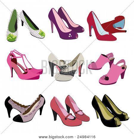 Woman fashion heels shoes - trendy foot wear in vector