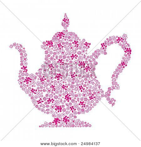 Time for high tea - Flower pattern as teapot in vector