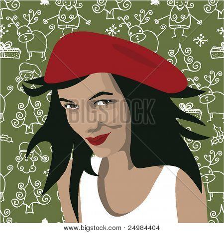 Christmas girl on seamless santa wallpaper in vector