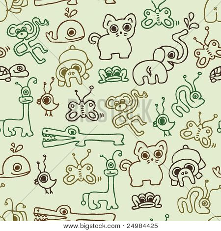Seamless kid pattern with animals in vector