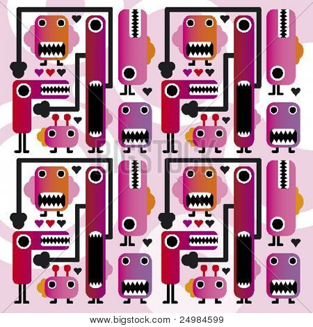 Seamless funny crazy monsters kids pattern in vector
