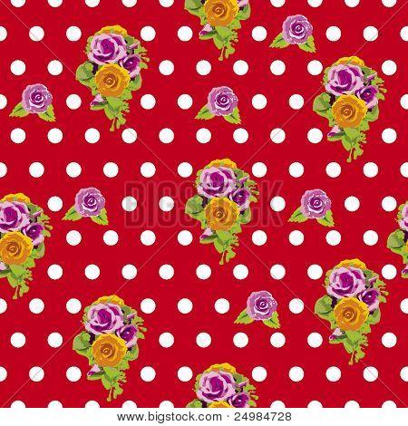 Sin fisuras lunares y patrón de rosas en vector