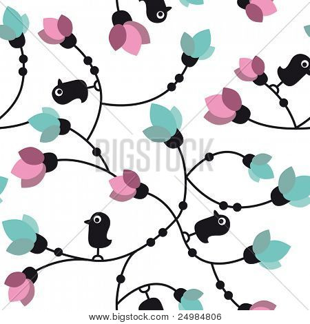 Seamless flower birds pattern in vector