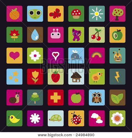 Graphic nature icon set in vector