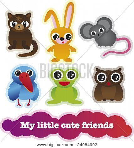 Cute cartoon animals collection in vector