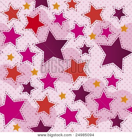Seamless hearts and stars pattern in vector