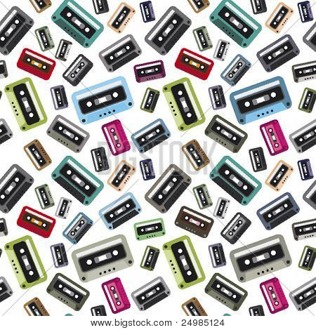 Cassette tapes retro pattern in vector