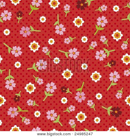 Happy summer flowers pattern wallpaper with polka dots in vector