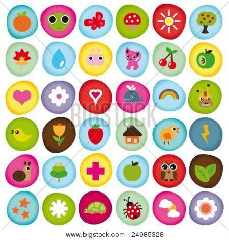 Cute icon set collection buttons in vector