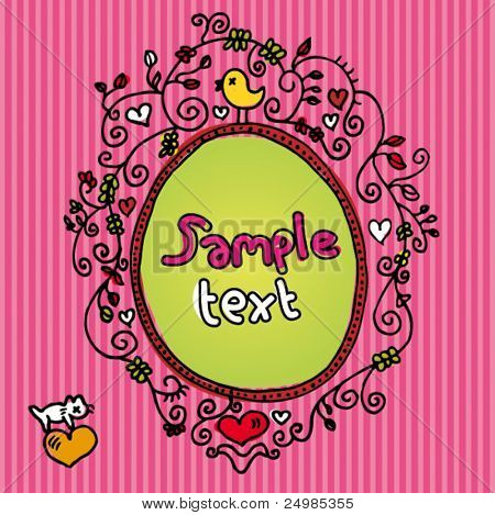 Cute doodle card design template with birds and cats in vector