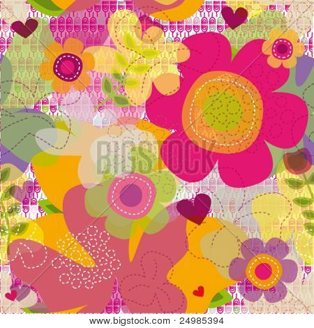 Seamless hot summer flowers pattern in vector