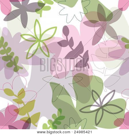 Seamless soft tones flower pattern in vector