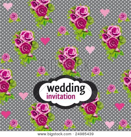Romantic roses and polka dots wedding invitation