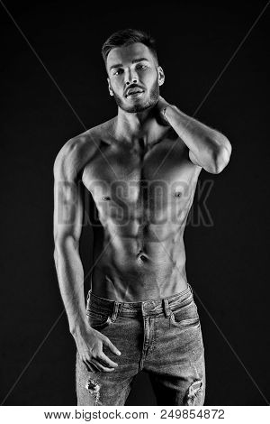 poster of Fitness Concept. Fitness Man. Fit Man After Fitness Training. Fitness And Health. Keeping His Body F