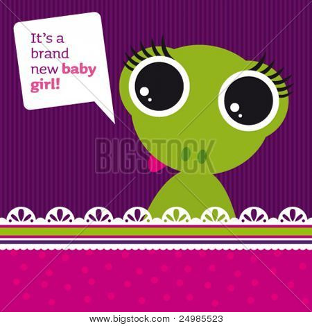 New born baby girl card design with frog in vector