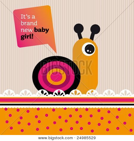 New born baby girl card design with helix in vector