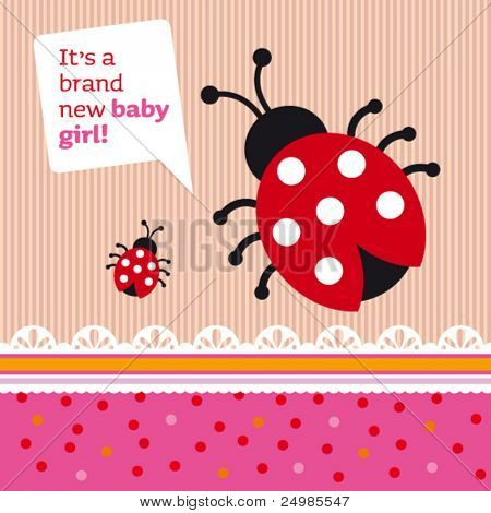 New born baby girl announcement card cover design in vector