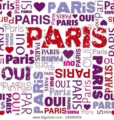 I love Paris french background seamless pattern in vector