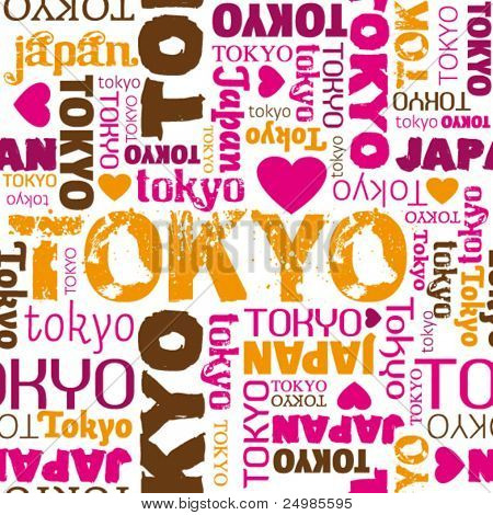 i love my tokyo seamless typography pattern in vector